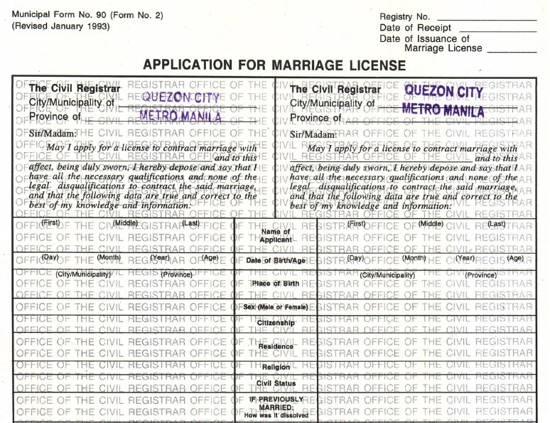 marriage certificate application form manitoba